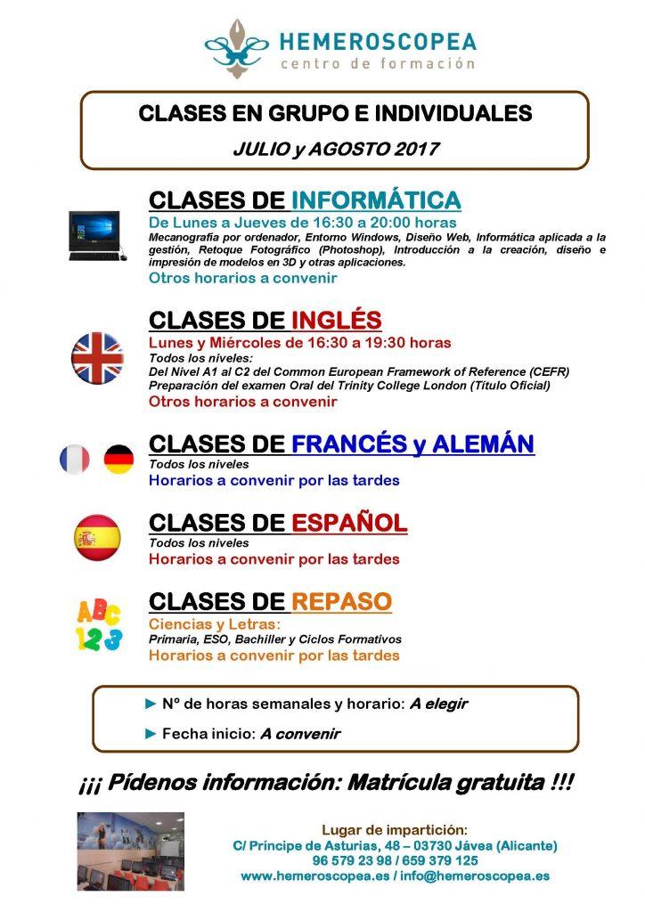 Publi clases PRIVADO, Verano 2017